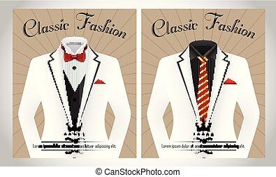 koszula, handlowy, czarnoskóry, szablon, garnitur, krawat, biały, chorągiew, czerwony