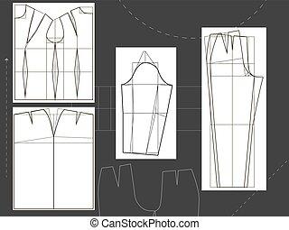 koszula, odzież, s, projektować, poła, kalesony