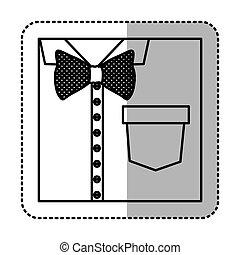 koszula, rzeźnik, do góry, łuk, monochromia, krawat, zamknięcie, kontur, formalny