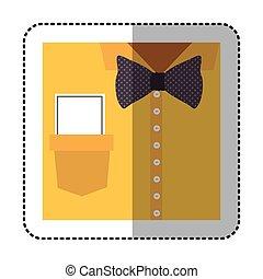koszula, rzeźnik, do góry, łuk, nuta, zamknięcie, krawat, formalny