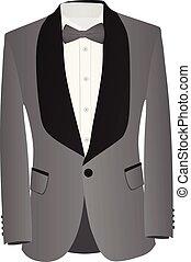 koszula, szary, łuk, czarnoskóry dostosowują, krawat, biały