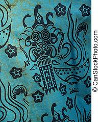 koszula, szczegół, batik, afrykanin, druk, bawełna