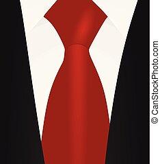koszula wiążą, do góry, suit., czarnoskóry, zamknięcie, biały czerwony