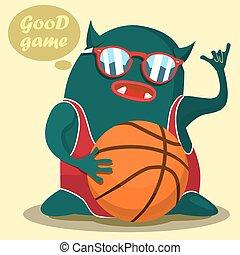 koszykówka, graficzny, potwór, chłodny