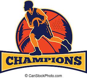 koszykówka, kapiąc, gracz, piłka, retro, mistrzynie