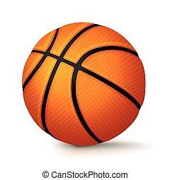 koszykówka, odizolowany, ilustracja, realistyczny, tło, biały