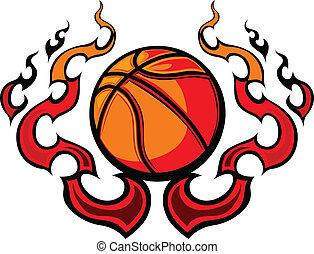 koszykówka, szablon, płomienie, vec