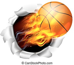 koszykówka, tło, piłka, płakanie, otwór, prażący