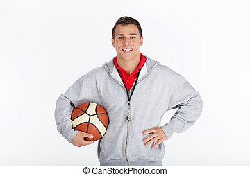 koszykówka, uśmiechanie się, autobus, trainer.