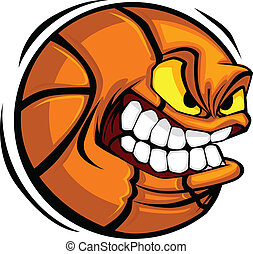 koszykówka, wektor, rysunek, piłka, twarz
