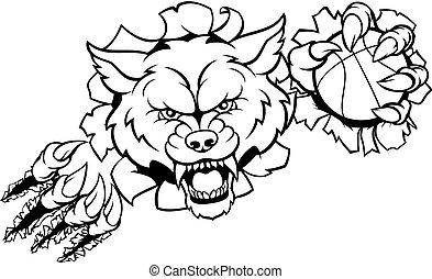 koszykówka, wilk, rozerwanie, tło, maskotka