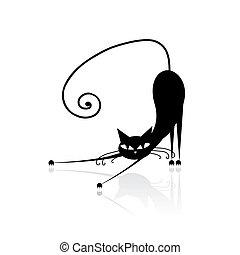 kot, czarnoskóry, twój, projektować, sylwetka