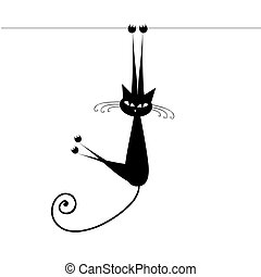kot, czarnoskóry, twój, projektować, zabawny, sylwetka