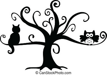 kot, noc, drzewo, halloween, sowa