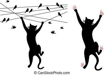 kot, wektor, czarnoskóry, wspinaczkowy, drut, ptaszki