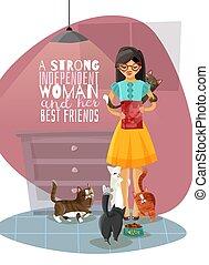 koty, dama, młody, ilustracja