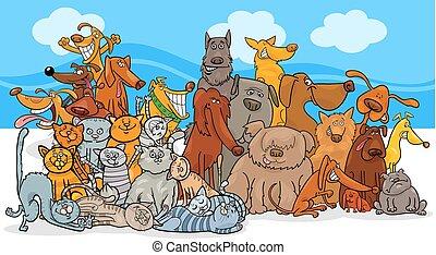 koty, grupa, pies, litery, rysunek