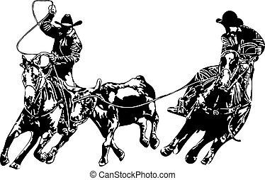 kowboj, drużyna, ropers