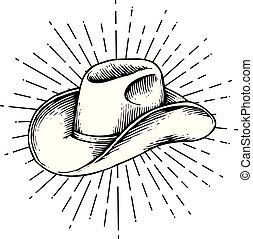 kowboj, rocznik wina, -, ilustracja, wyryty, wektor, (hand, pociągnięty, style), kapelusz