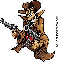 kowboj, rysunek, cel, pistolety, maskotka