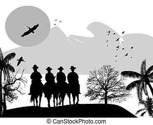 kowboje, sylwetka, konie