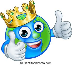 król, kula, litera, ziemia, świat, rysunek, maskotka
