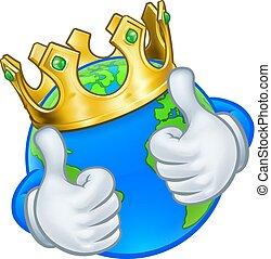 król, ziemia, litera, maskotka, światowa kula, rysunek