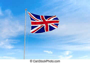 królestwo, błękitny, zjednoczony, na, niebo, bandera, tło