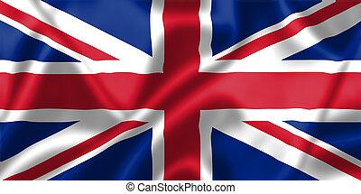królestwo, bandera, zjednoczony, wiatr, podmuchowy