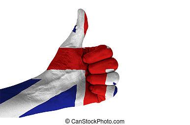 królestwo, zjednoczony, kciuk, flag., krajowy, do góry, wręczać gest, barwny
