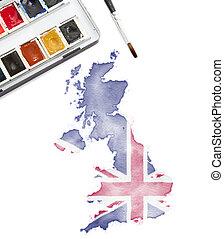 królestwo, zjednoczony, krajowy, akwarela, colors.(series), malarstwo