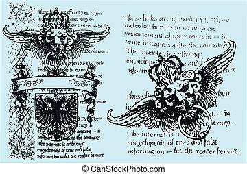 królewski, heraldyczny, emblemat, lew