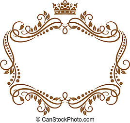 królewski, ułożyć, kwiaty, korona, retro