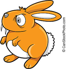 królik, pomarańcza, królik, wektor, pomylony