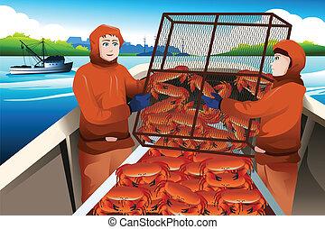 kraby, rybacy, uchwyt, krab, morze