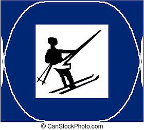 kraj, narciarstwo, krzyż, znak
