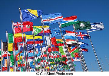kraje, świat, bandery, dookoła