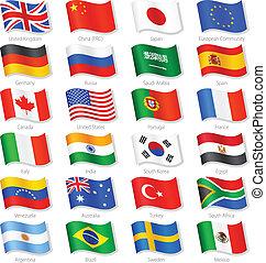 kraje, górny, wektor, bandery, świat, krajowy