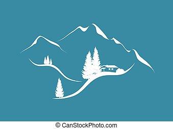 krajobraz, góra, barak, jodły, alpejski