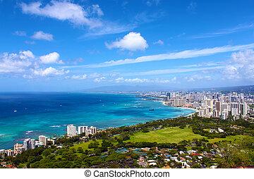 krajobraz, góra, waikiki, górny, hawaje, plaża