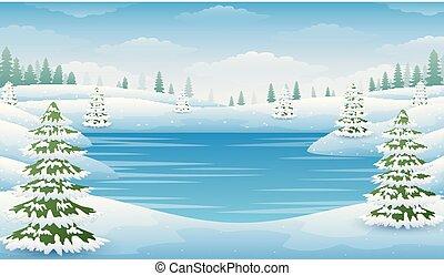 krajobraz, jezioro, drzewa, zima, mrożony, jodła
