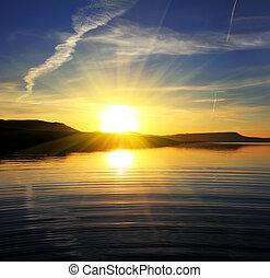 krajobraz, jezioro, wschód słońca, rano