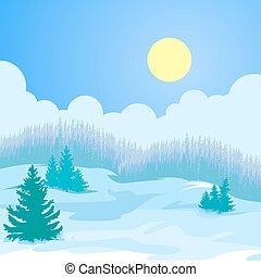 krajobraz., kartka na boże narodzenie, zima