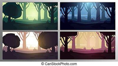 krajobraz, night., time., wektor, komplet, rano, dzień, las, różne tła, zachód słońca, illustration.