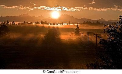 krajobraz, palec, waszyngton, 3, siostry, wschód słońca, góra, na, albo