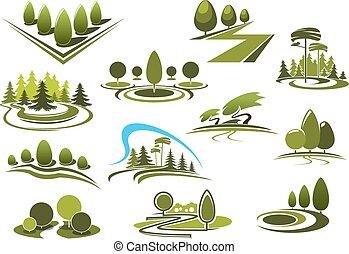 krajobraz, park, ikony, las, zielony, ogród