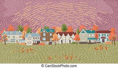 krajobraz, pociągnięty, styl, wektor, ilustracja, suburbs., płaski, prospekt, rysunek, jesień, twój, wieś, tło, design.
