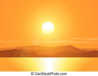 krajobraz, range., zachód słońca, góra, na