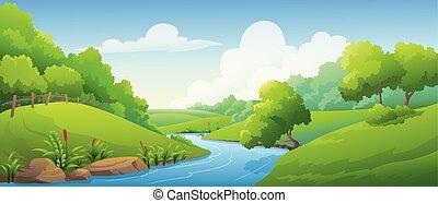 krajobraz, rzeka, las, dzień