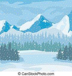 krajobraz., tło., zima drzewa, góry